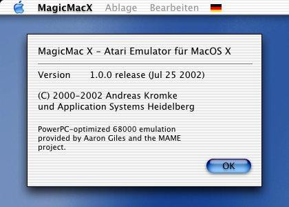 MagicMacX Infodialog