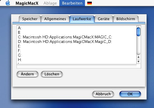 MagicMacX: Drives