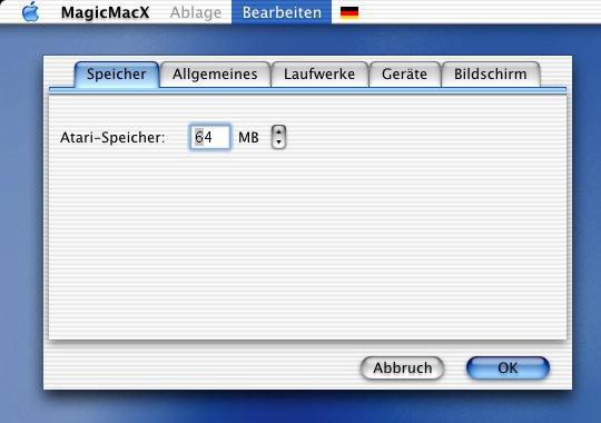 MagicMacX: Memory