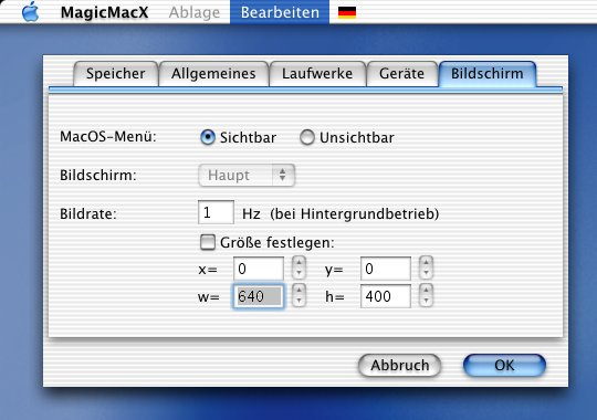 MagicMacX: Bildschirm